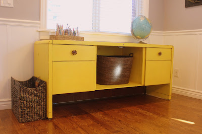 Yellow DIY chalk paint desk with dark wax