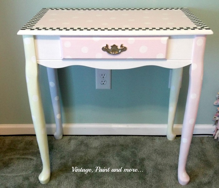 Vintage, Paint and more... whimsically painted little desk, child's desk colorfully painted, fun painted desk for kid's room