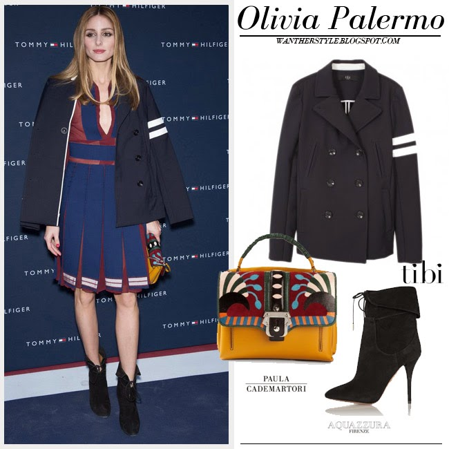 Olivia Palermo in blue peacoat from Tibi, red and blue pleat dress, black aquazzura ankle boots and yellow paula cademartori faxe bag what to wear want her style
