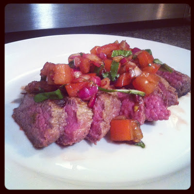 DoughMestic Diva: Flank Steak with Tomatoes, Red Onion and Balsamic