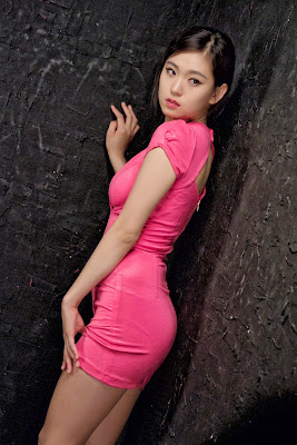 Joohee Sexy Pink Dress Cleavage