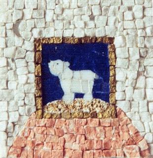 création d'un tableau ours blanc de nuit au clair de lune en mosaïque et peinture ideal pour cadeau de naissance pate de verre marbre  tout l'univers créatif de mimi vermicelle