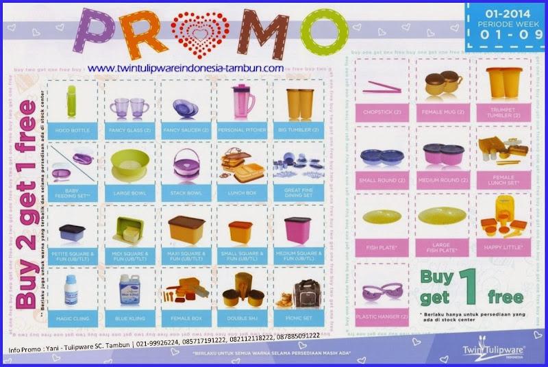 Promo Twin Tulipware Buy 2 Get 1 Free Bulan Januari - Februari 2014