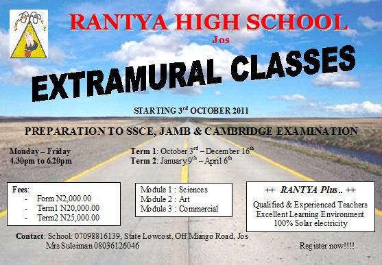 Rantya schools jos for Extra mural classes