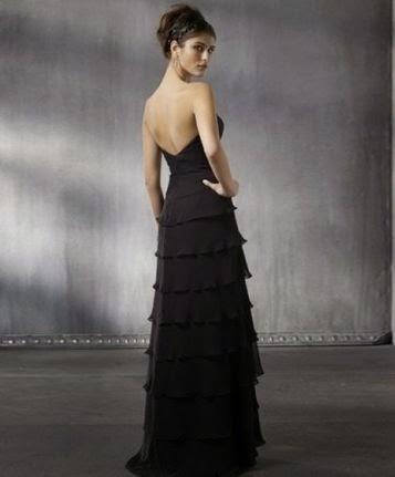 Vestido de Fiesta Strapless con Falda de Volantes