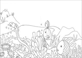 Desenhos Para Pintar Peixes no Fundo Do mar