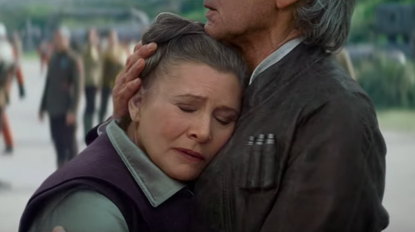 Leia hugging Han Solo in The Force Awakens
