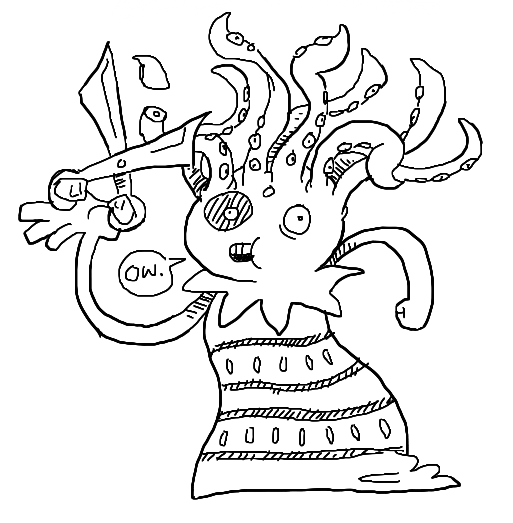 Today S Drawing Is Of The Octopus Hairdresser From Para Rer 2 I Really Have To Stop Things Saying Ow As They Re Getting Their Hair Cut