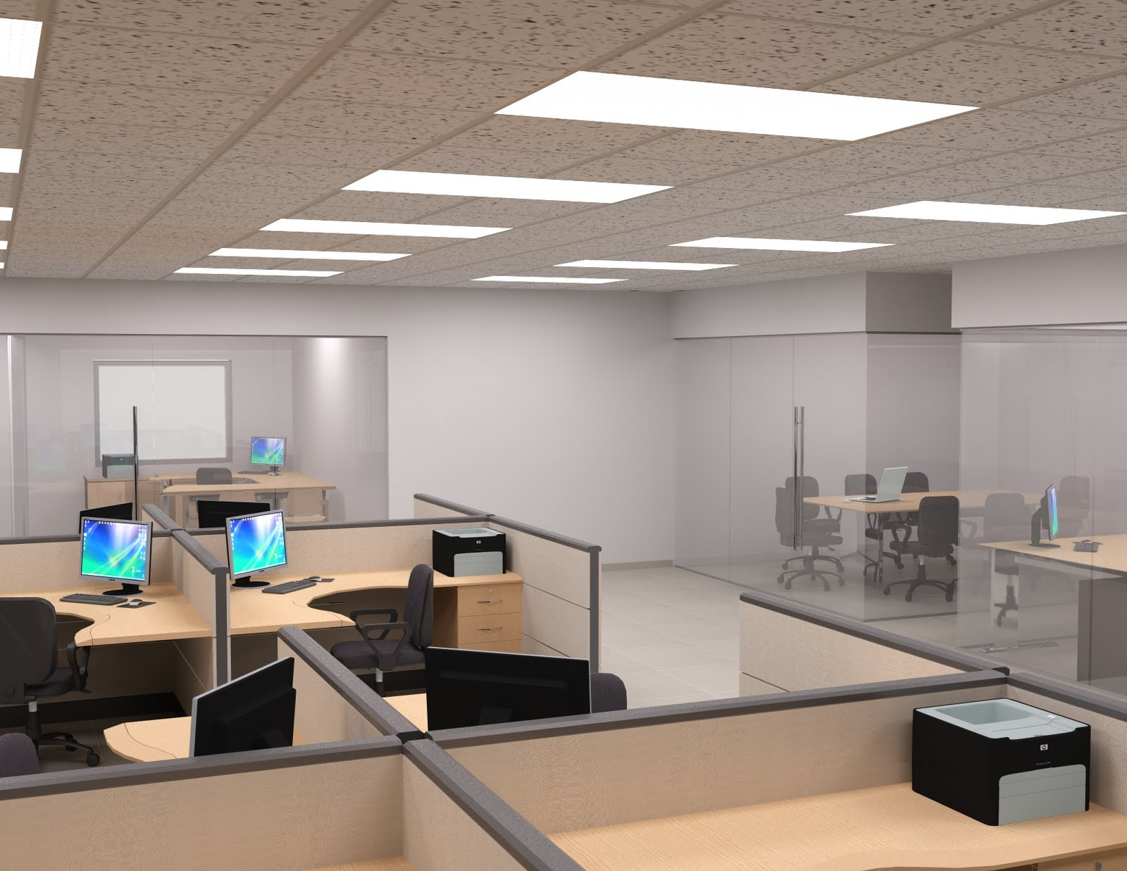 D3d interior de oficinas for Interior oficina
