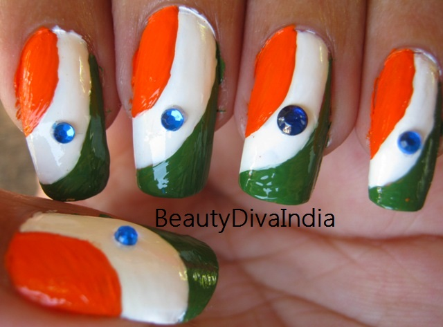 Independence Day Nail Art Tri Color Inspired Beautydiva India