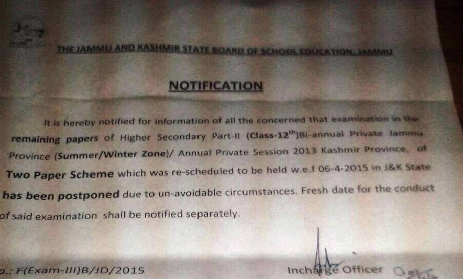 JKBOSE Examination New Timetable, Postponed Exam Details