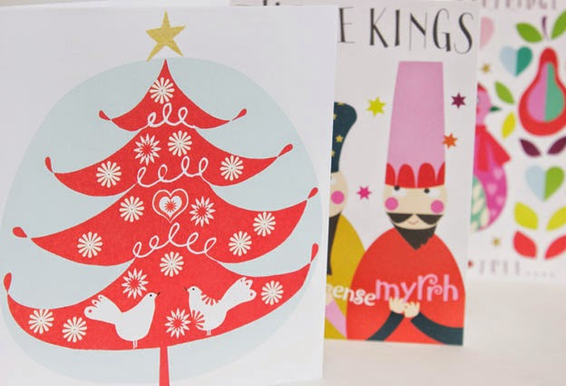 red Christmas tree three kings christmas charity packs Liz and Pip greeeting cards designers