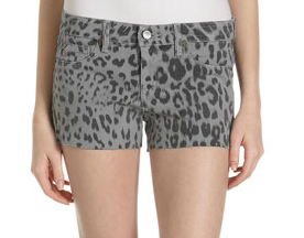 Grey Leopard Print Shorts