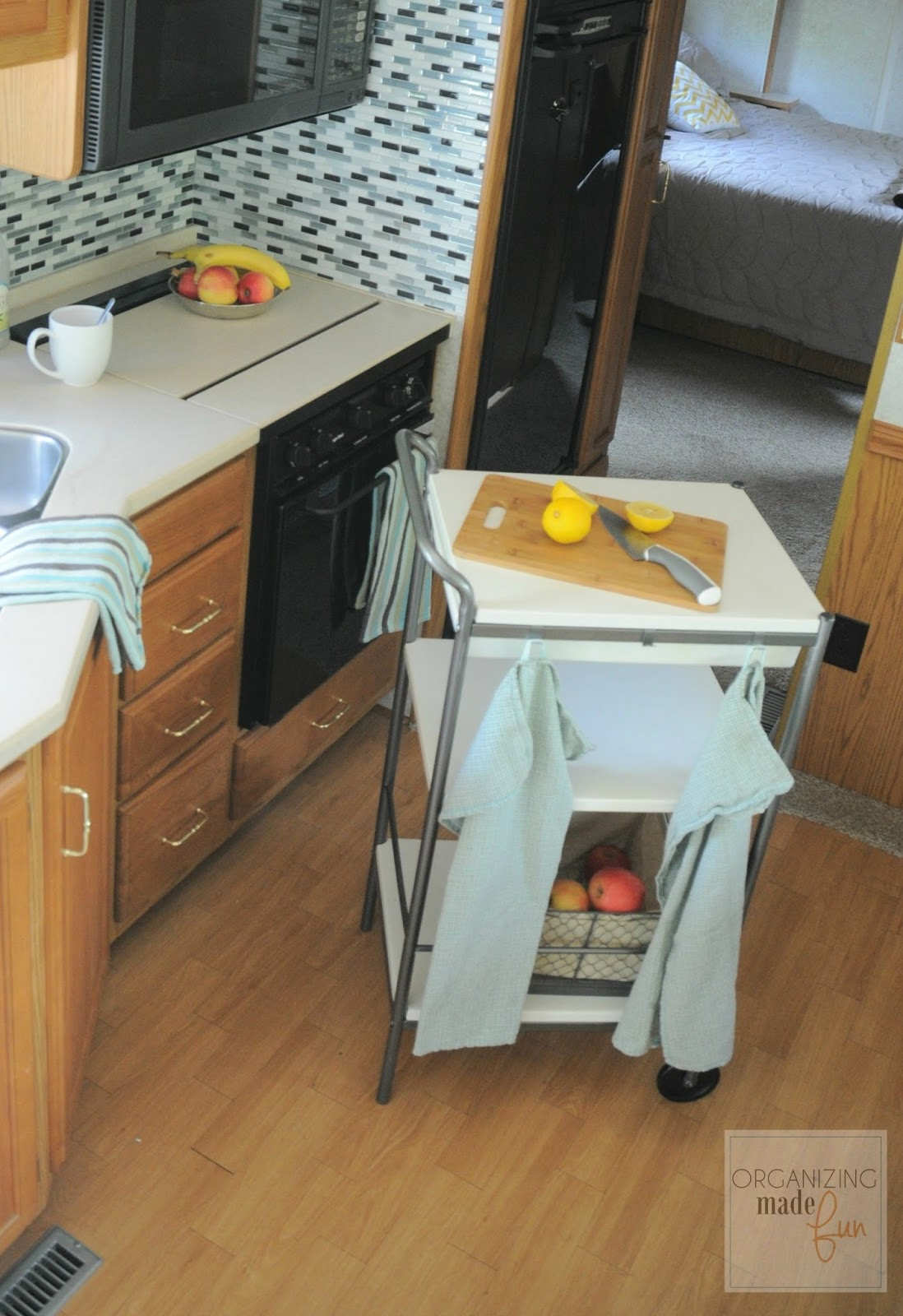 Ikea kitchen cart in RV for more counterspace :: OrganizingMadeFun.com
