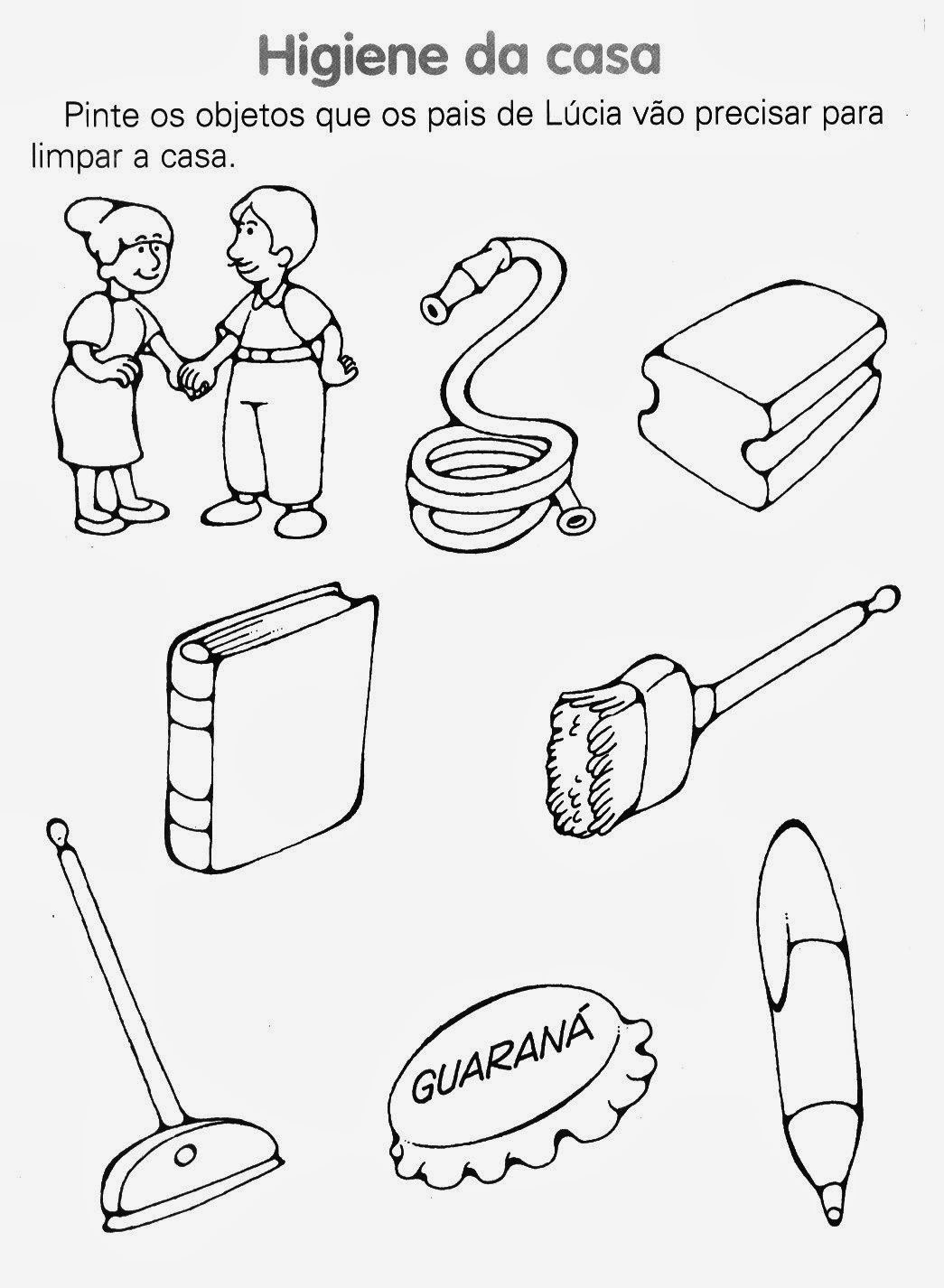 atividades maternal pré alfabetização infantil higiene de casa
