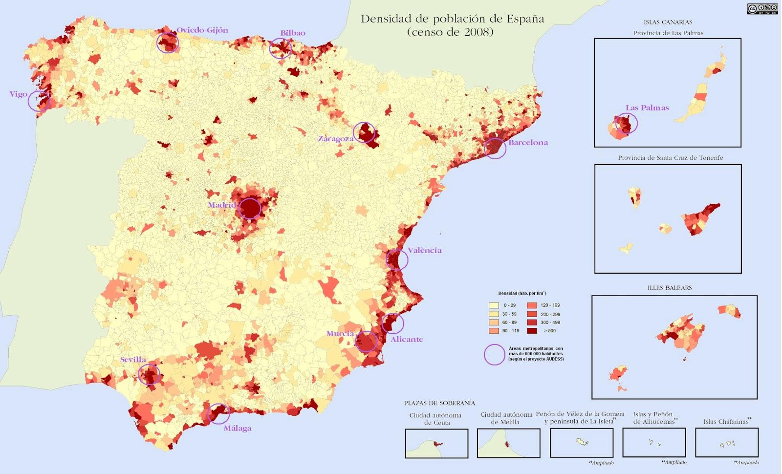 Geo Espaa Densidad de la poblacin espaola