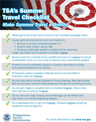 Screenshot of summer travel tips checklist.