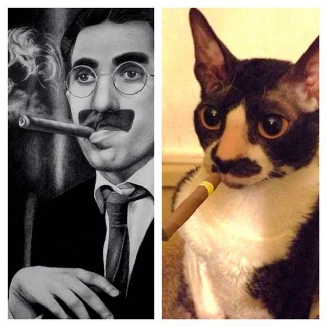 "Julius Henry ""Groucho"" Marx and cat"