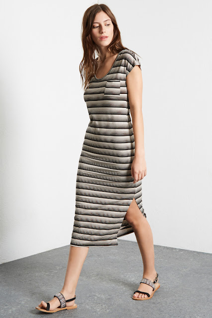 striped jersey midi dress, warehouse striped midi dress,