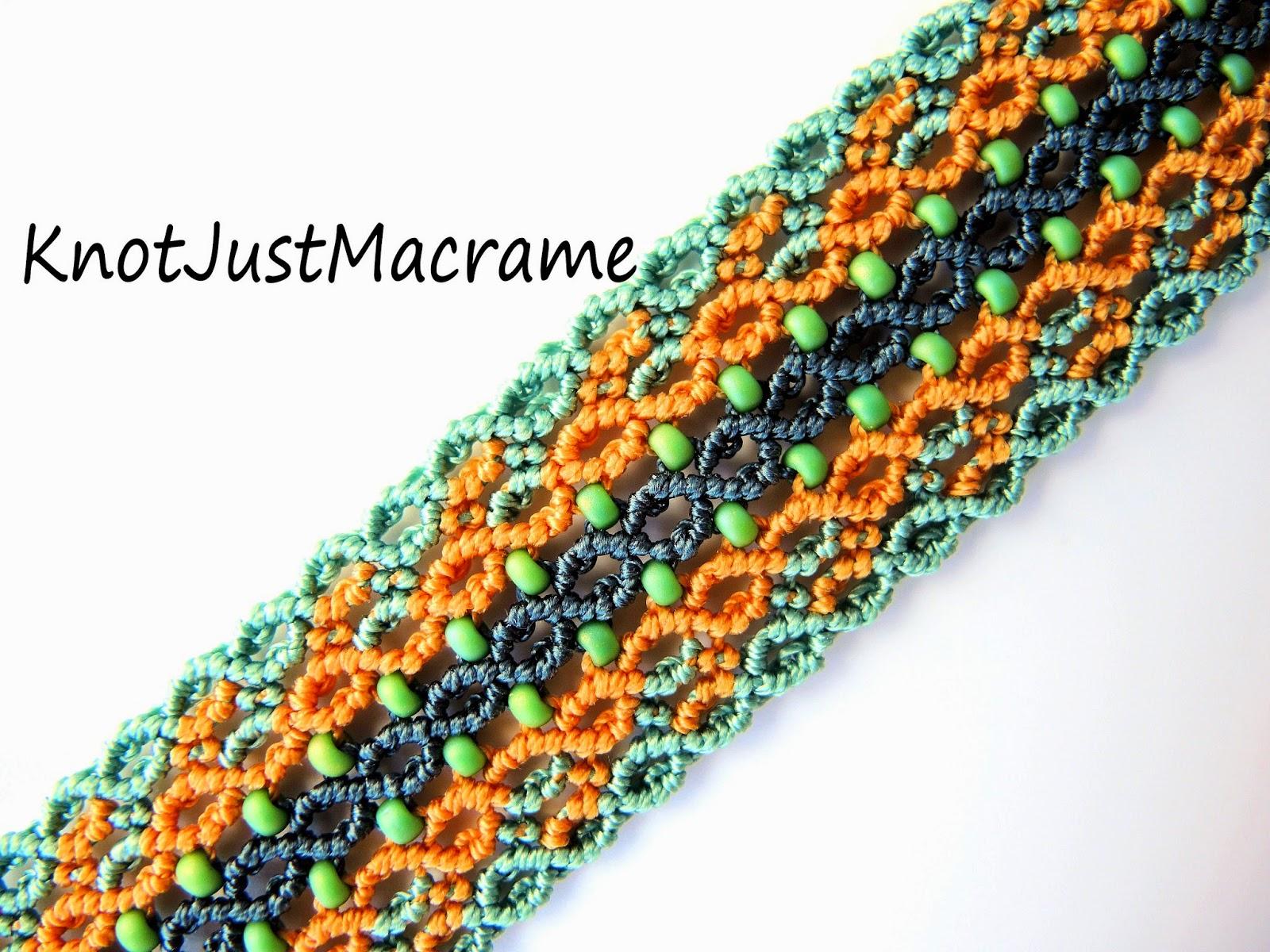 Knotted micro macrame bracelet by Sherri Stokey of Knot Just Macrame.