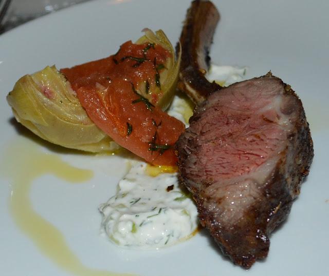 Zatar Spiced Lamb Chop - Braised Artichoke - Tomato Confit at the Mediterraneo Restaurant