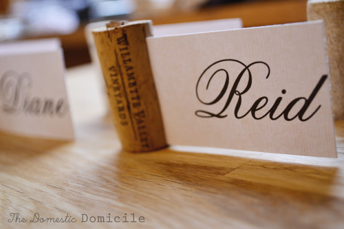 wine themed party cork placecard the domestic domicile