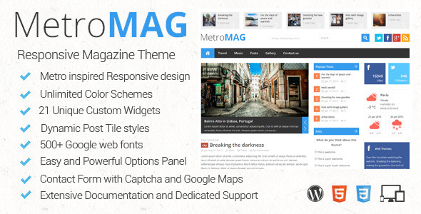 ThemeForest - Metro Magazine Responsive WordPress Theme