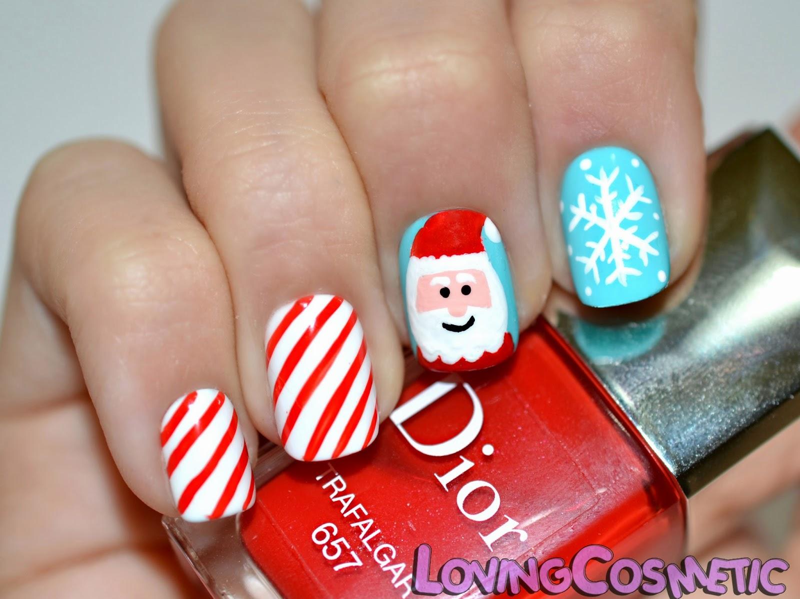 Papa noel Santa Claus rojo navidad 2014 2013 rayas nieve copo snow winter invierno season holiday vacaciones rojo dior bourjois acrilicos