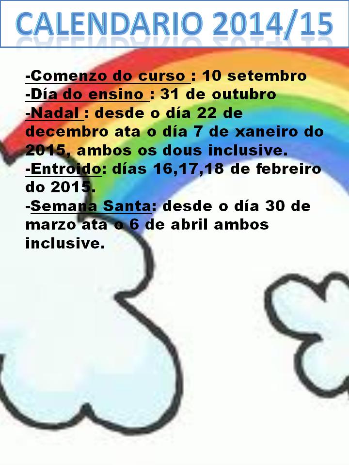 CALENDARIO CURSO 2014/15