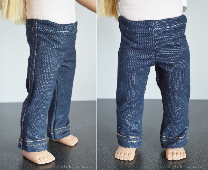 Easy Leggings for 18 Inch or American Girl Dolls with Free Printable Pattern at artsyfartsymama.com