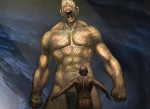 Arte conceitual de Rory McLeish com um gigante cego e um oponente menor