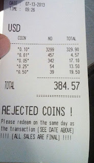 receipt from coin coin counting machine coin roll hunting dump