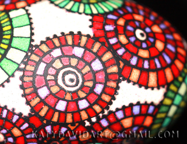Batik eggshell colorful stained glass windows