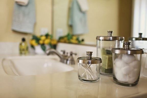 bathroom storage jars for Q-tips and cotton balls
