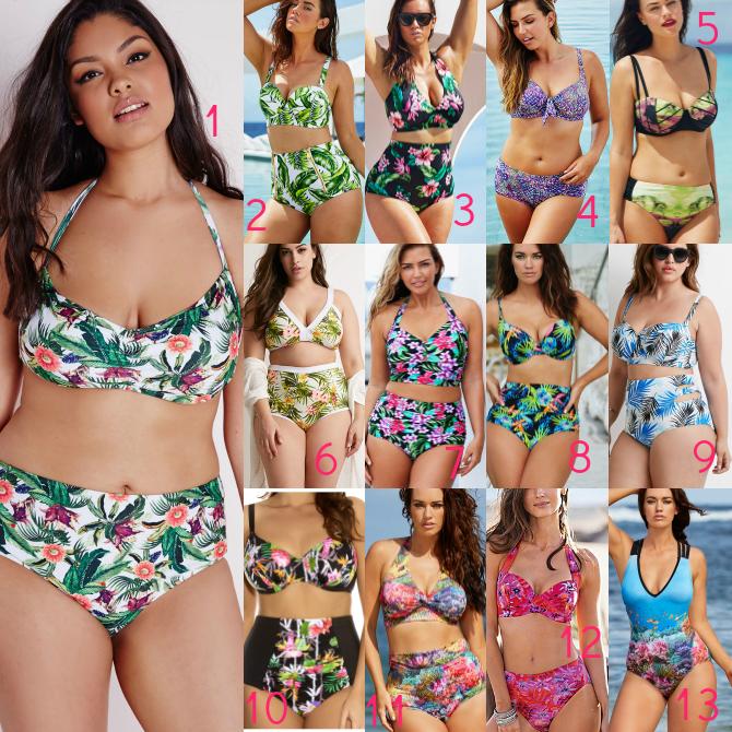 costumi da bagno plus size 2015 stampa tropicale