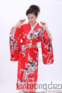 may bán kimono nữ màu đỏ