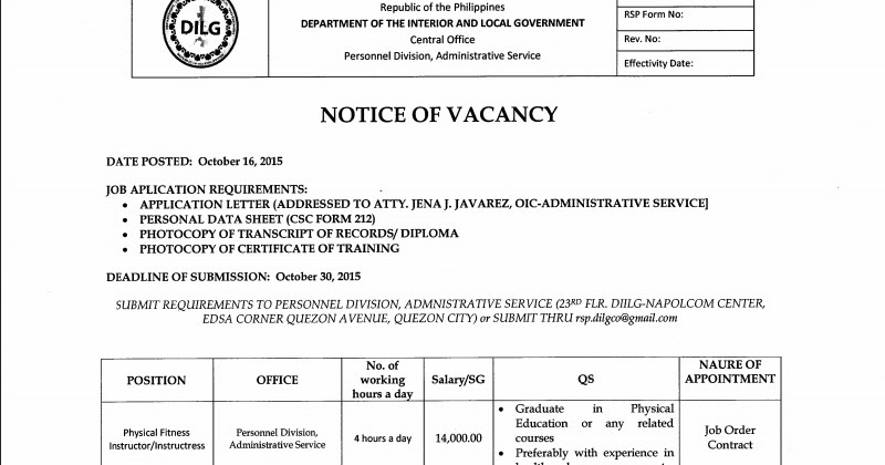 Department of the Interior and Local Government (DILG) Job ...