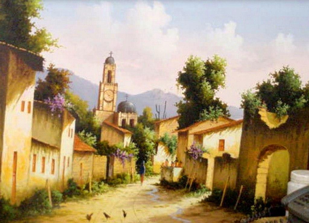 Pinturas cuadros lienzos casas de pueblos mexicanos - Casas de pueblo ...