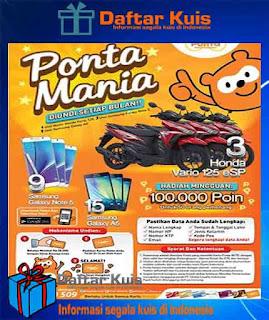 Undian Kartu Ponta Indonesia berhadiah Motor, Smartphone dan Point Ponta