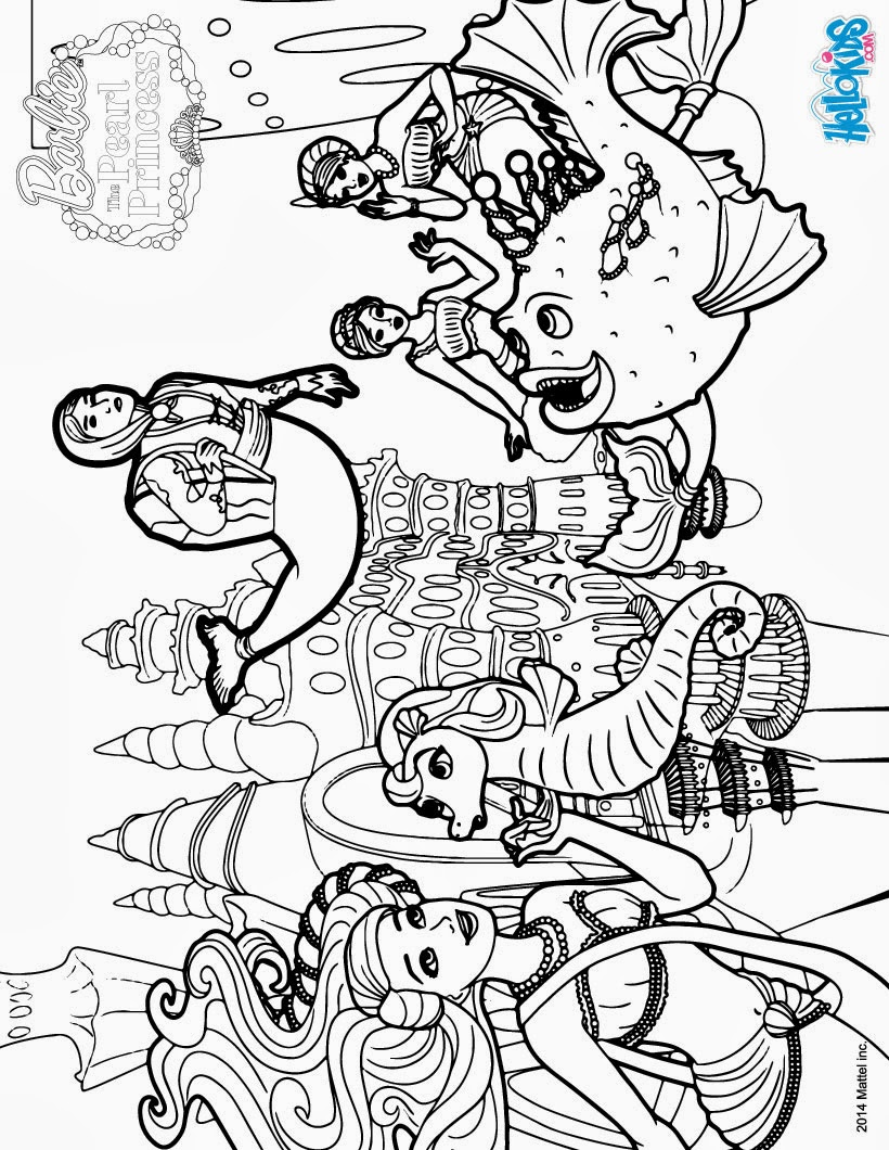 imagens para colorir barbie sereia - Desenho de uma Barbie sereia para colorir Hello Kids