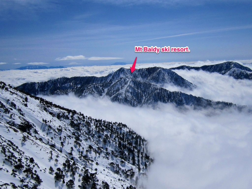 Excess vertical mt baldy 10 070 ft 3070m los angeles for Snow cabins near los angeles