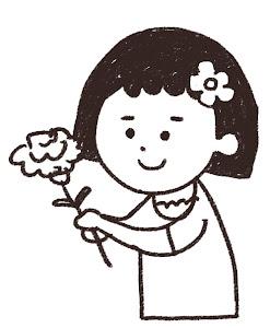 母の日のイラスト「カーネーションのプレゼント」線画