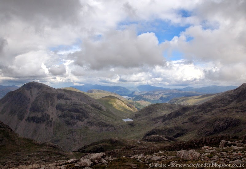 View from the top - climbing Scafell Pike, England