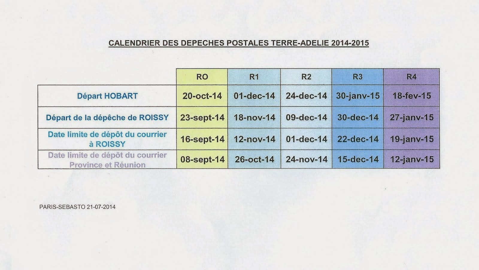 Calendrier des dépêches postales 2014/2015