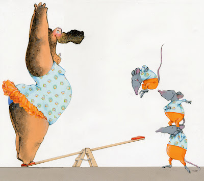 illustration by robert wagt of a circus hippo and rats on a seesaw