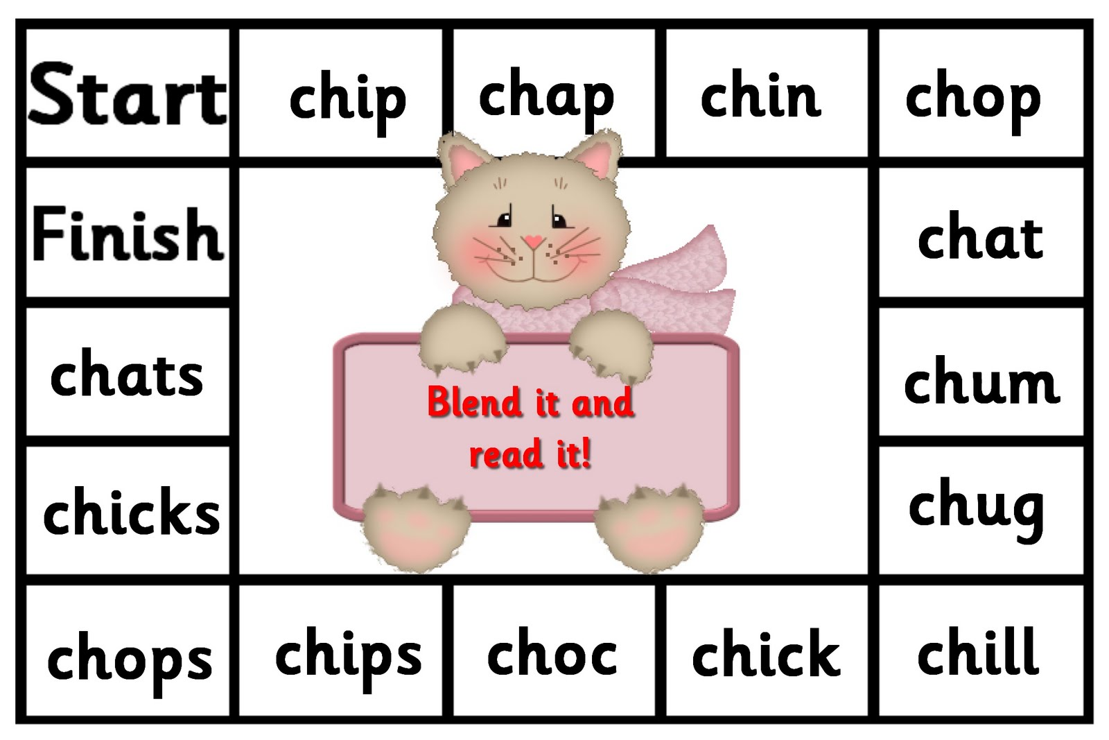 Debbies Resource Cupboard ch board game letters and sounds phase 3 – Ch Worksheet