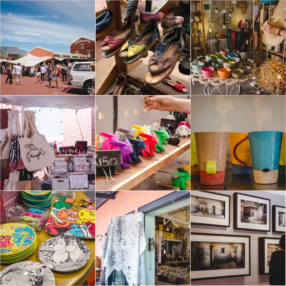 Moderne Marktstände in Kapstadt