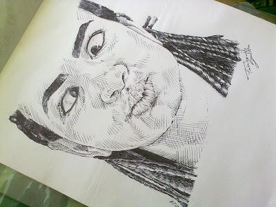 Cíntia Andrade - desenho com caneta esferográfica - concluído