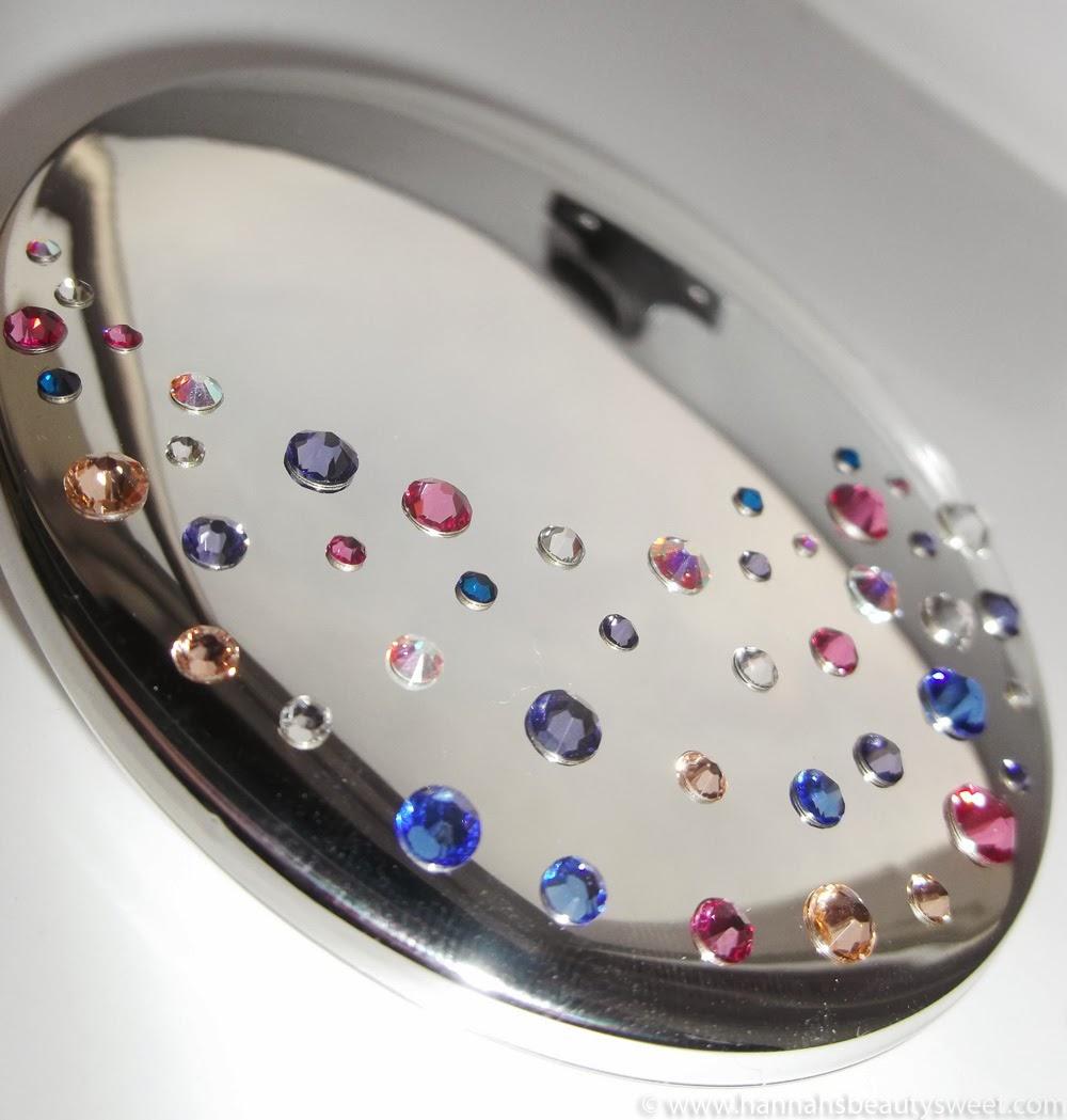 Swarovski mirror, blue Swarovski, beautiful, compact mirror