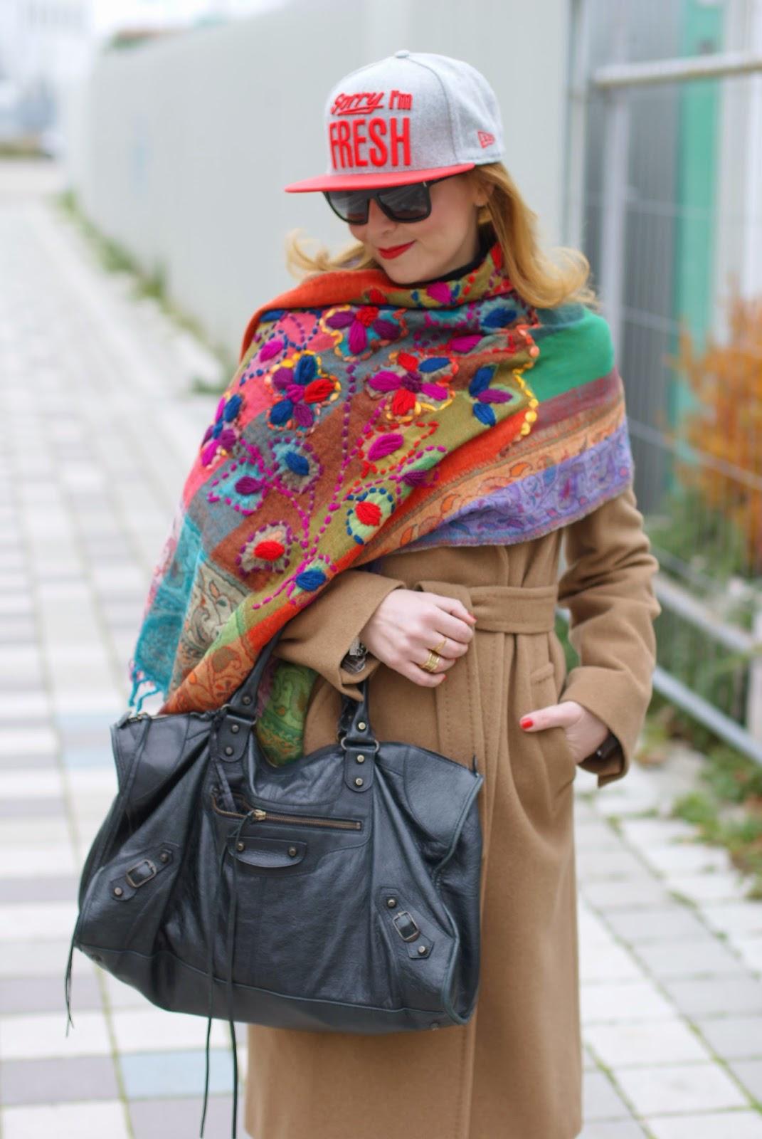 New Era cap, Jord Fieldcrest watch, Max Mara camel coat worn with Adidas Stan Smith and Balenciaga Work bag on Fashion and Cookies fashion blog, fashion blogger italiana
